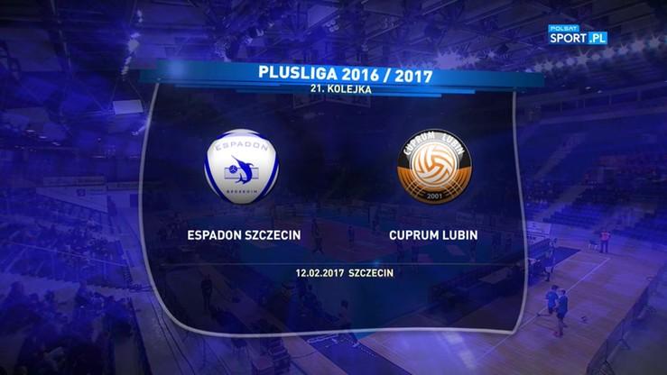 Espadon Szczecin - Cuprum Lubin 0:3. Skrót meczu