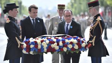 08-05-2017 18:23 Pierwszy oficjalny występ Macrona jako prezydenta elekta. Nie krył wzruszenia