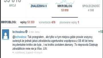 22-02-2016 12:56 Lech Wałęsa: dziękuję, zdradziliście mnie, nie ja Was