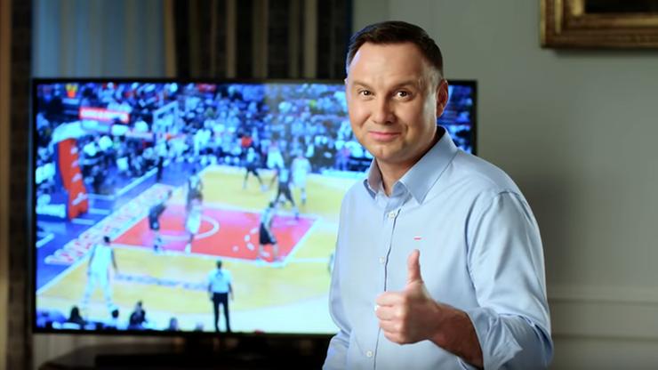 """""""Good luck!"""". Prezydent Duda pozdrawia uczestników """"Polskiej Nocy"""" w NBA"""