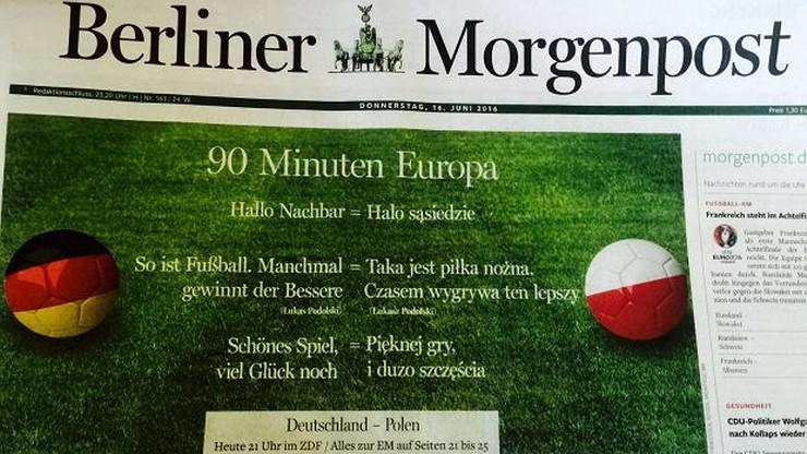 """""""Pięknej gry i dużo szczęścia"""". Niezwykła pierwsza strona niemieckiego dziennika"""