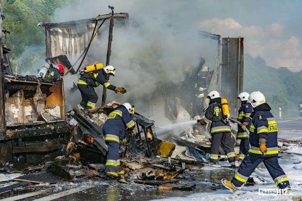 Kilkudziesięciu strażaków walczyło z pożarem na krajewej 19-tce.