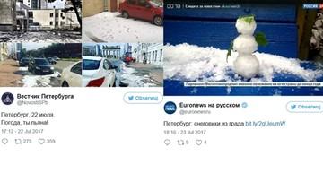 25-07-2017 18:59 W Petersburgu spadł śnieg. W środku lata. Ludzie jeździli na nartach i lepili bałwany