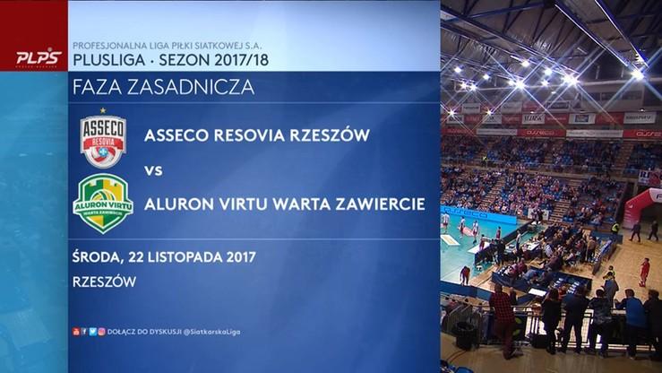 Asseco Resovia Rzeszów - Aluron Virtu Warta Zawiercie 2:3. Skrót meczu