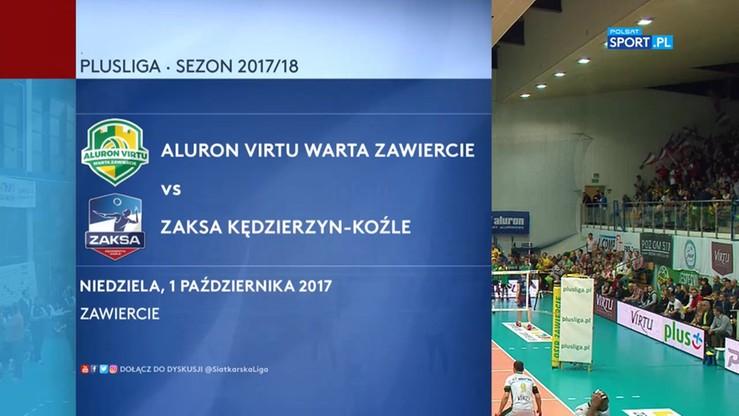 2017-10-01 Aluron Virtu Warta Zawiercie - ZAKSA Kędzierzyn-Koźle 1:3. Skrót meczu