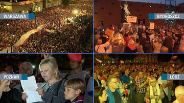 """""""Wolne sądy"""" i """"Chcemy weta"""" - demonstracje w Krakowie, Wrocławiu, Katowicach i innych miastach"""