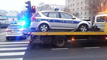 Wypadek radiowozu policji w Warszawie