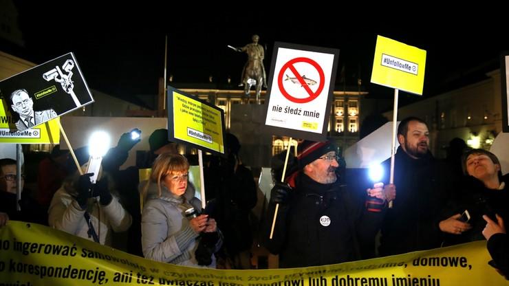 Protest przeciw noweli prawa o policji i uprawnieniach służb