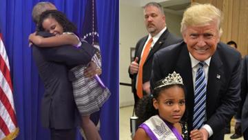 """19-09-2016 11:52 9-latka pozuje z Trumpem. """"Ta mina podsumowuje stan debaty prezydenckiej w USA"""""""