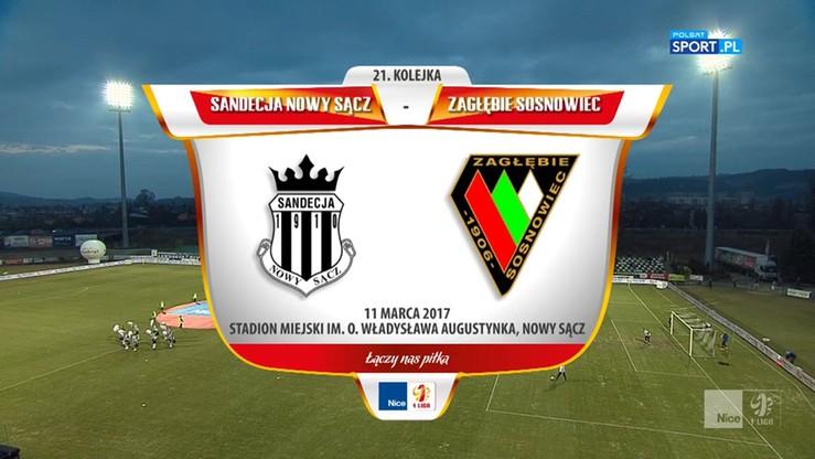 2017-03-11 Sandecja Nowy Sącz - Zagłębie Sosnowiec 5:0. Skrót meczu