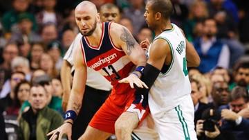 2017-01-12 NBA: Dycha Gortata w przegranym meczu Wizards
