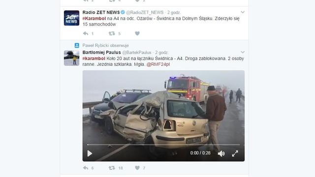Karambol pod Świdnicą - dziesiątki samochodów uszkodzonych, są ranni