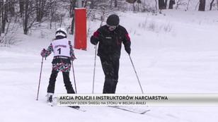 Akcja policji i instruktorów narciarstwa. Światowy dzień śniegu na stoku w Bielsku-Białej