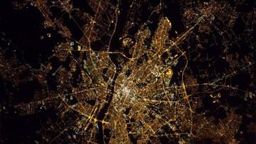 Warszawa widziana z kosmosu. Zdjęcie z Międzynarodowej Stacji Kosmicznej