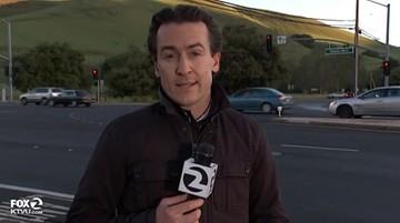 10-03-2016 13:17 Reporter w ostatniej chwili uciekł sprzed kół samochodu. Był na wizji