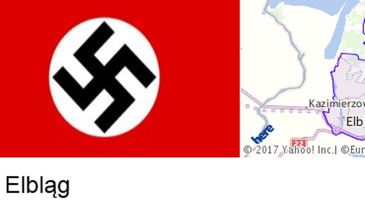 Swastyka symbolem Elbląga? Przynajmniej według Yahoo