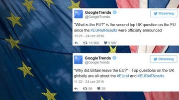 24-06-2016 20:24 Brytyjczycy googlowali czym jest Unia i Brexit. Oto najczęstsze wyszukiwania tuż po referendum