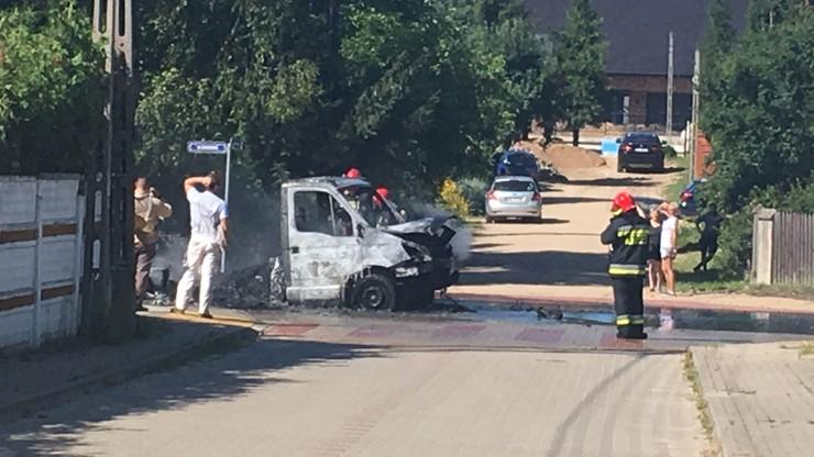 Pożar samochodu dostawczego w Ogrodniczkach koło Supraśla