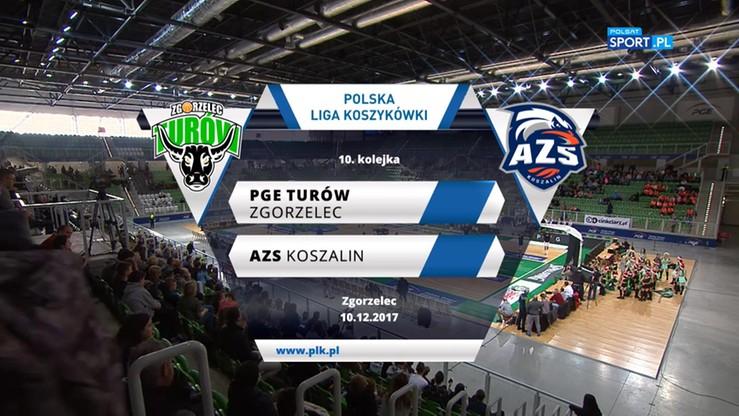 PGE Turów Zgorzelec - AZS Koszalin 106:78. Skrót meczu