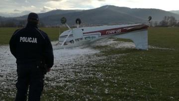 Wiatr przewrócił mały samolot na lotnisku sportowym w Bielsku-Białej