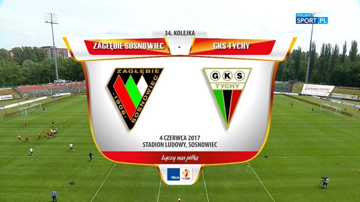 Zagłębie Sosnowiec - GKS Tychy 2:1. Skrót meczu