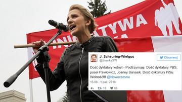 """01-10-2016 17:24 """"Dość dyktatury kobiet"""" - posłanka Nowoczesnej na """"Czarnym proteście"""""""
