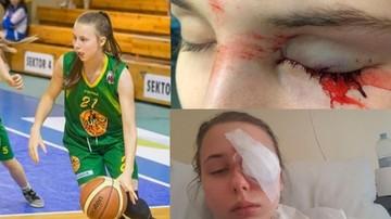 Młoda koszykarka walczy o wzrok.