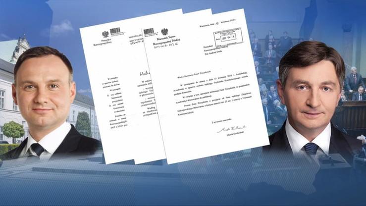 """Sprawa głosowania """"na dwie ręce"""". Kancelaria pokazuje korespondencję między prezydentem a marszałkiem Sejmu"""